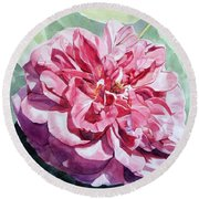 Watercolor Of A Pink Rose In Full Bloom Dedicated To Van Gogh Round Beach Towel