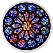 Rose Window Of Grace Cathedral By Diana Sainz Round Beach Towel