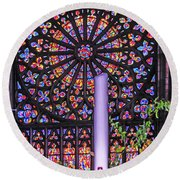 Rose Window Of St Vincent Round Beach Towel