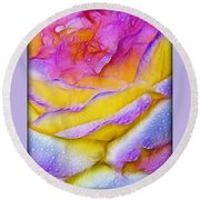 Rose With Dew Drops In Candy Colors Round Beach Towel