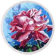 Rose Round Beach Towel by Zaira Dzhaubaeva