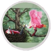 Roseate Spoonbill Nesters  Round Beach Towel
