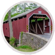 Rosehill Covered Bridge Round Beach Towel