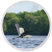 Roseland Lake Great Blue Heron Fly By  Round Beach Towel