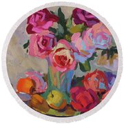 Roses And Apples Round Beach Towel