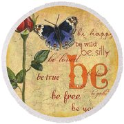 Roses And Butterflies 1 Round Beach Towel