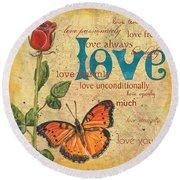 Roses And Butterflies 2 Round Beach Towel by Debbie DeWitt
