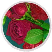Roses And Carnations Round Beach Towel