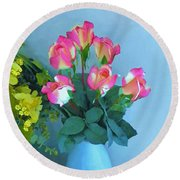 Roses And Flowers In A Vase Round Beach Towel