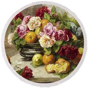 Roses And Fruit Round Beach Towel