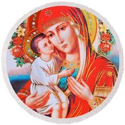 Roses And Holy Family Round Beach Towel