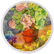 Roses And Pansies Round Beach Towel by Julia Rowntree