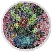 Roses And White Lilacs Digital Painting Round Beach Towel