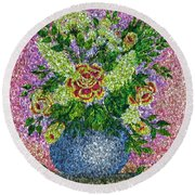Roses And White Lilacs Lacy Bouquet Digital Painting Round Beach Towel