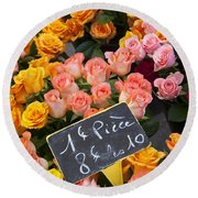 Roses At Flower Market Round Beach Towel