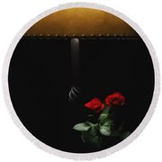 Roses By Lamplight Round Beach Towel