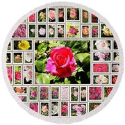 Roses Collage 2 - Painted Round Beach Towel