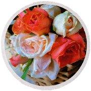 Roses Florentine Round Beach Towel