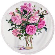 Roses In A Glass Jar  Round Beach Towel by Christopher Ryland