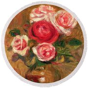 Roses In A Pot Round Beach Towel by Pierre Auguste Renoir