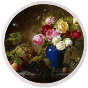 Roses In A Vase Peaches Nuts And A Melon On A Marbled Ledge Round Beach Towel