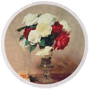 Roses In A Vase With Stem Round Beach Towel