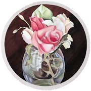 Roses In The Glass Vase Round Beach Towel
