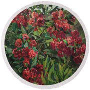 Roses In The Mountains Round Beach Towel