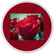 Roses In The Window Round Beach Towel