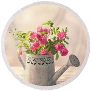 Roses In Watering Can Round Beach Towel