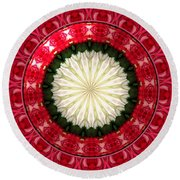 Roses Kaleidoscope Under Glass 19 Round Beach Towel