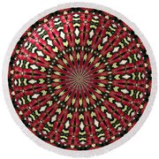 Roses Kaleidoscope Under Glass 21 Round Beach Towel