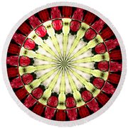 Roses Kaleidoscope Under Glass 23 Round Beach Towel