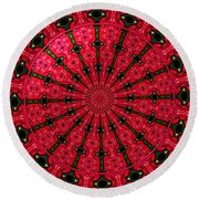 Roses Kaleidoscope Under Glass 24 Round Beach Towel