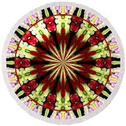 Roses Kaleidoscope Under Glass 25 Round Beach Towel
