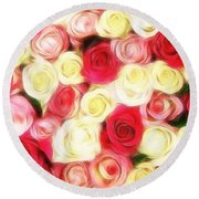 Roses Of Love Round Beach Towel