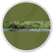 Roses On A Fence Round Beach Towel