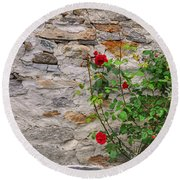 Roses On A Stone Wall Round Beach Towel