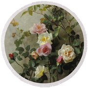 Roses On A Wall Round Beach Towel