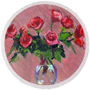 Roses On Pink Round Beach Towel