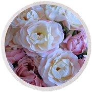 Roses On The Veranda Round Beach Towel