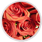 Roses On Your Wall Round Beach Towel