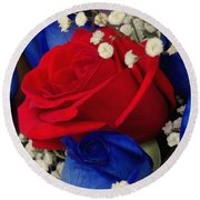 Roses - Red White And Blue Round Beach Towel