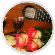 Guitar 'n Roses Round Beach Towel