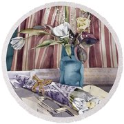 Roses Tulips And Striped Curtains Round Beach Towel by Julia Rowntree