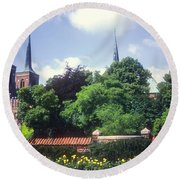 Roskilde Cathedral Round Beach Towel