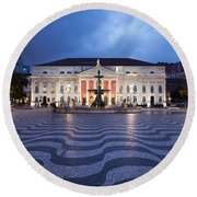Rossio Square At Night In Lisbon Round Beach Towel