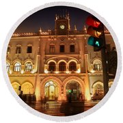 Rossio Train Station Round Beach Towel