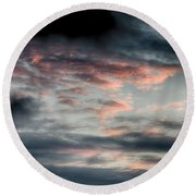 Rosy Clouds Round Beach Towel