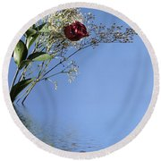 Rosy Reflection - Left Side Round Beach Towel